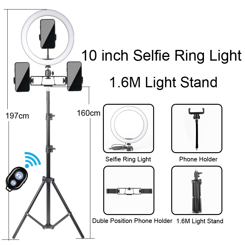 Ring Light LED Selfie Stand Tripod Dimmable YouTube Lamp Photo Video Camera Phone ringlight For Makeup Live Fill Light