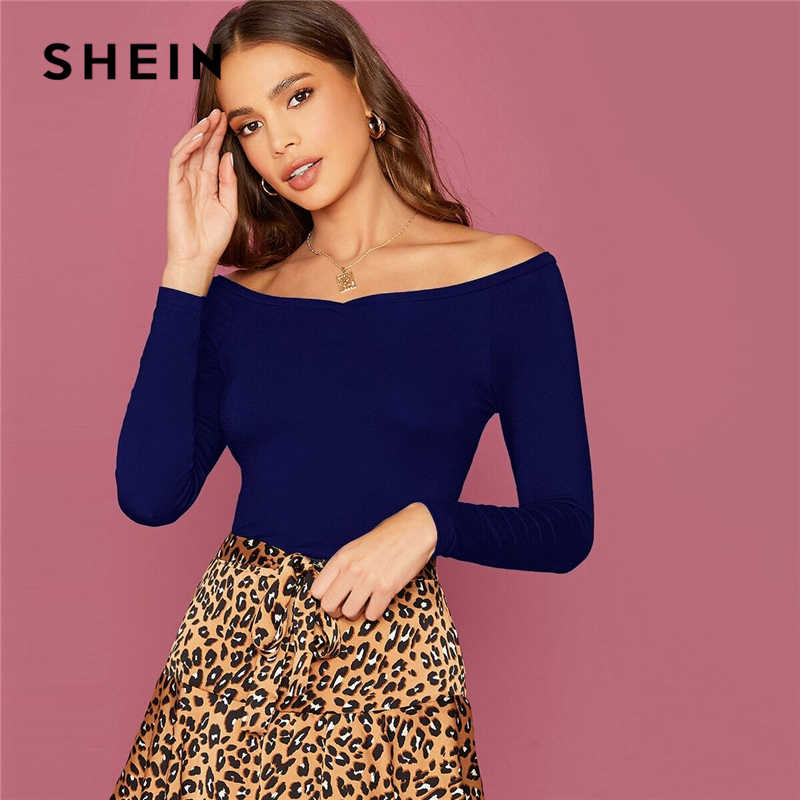 Shein Off Bahu Slim Dilengkapi Top Wanita Elegan Tees Musim Gugur Lengan Panjang Kantor Wanita Kurus Solid T-shirt