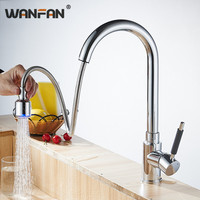 Kitchen Faucets Pull Out High Arch Taps Single Lever Dual Spray Nozzle Crane 360 Degree Swivel Tap Kitchen Accessories YC CL3011