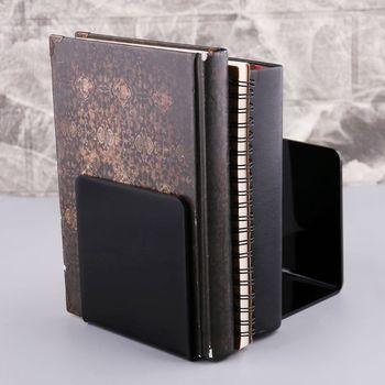 2 sztuk czarny akrylowe Bookends w kształcie litery L Organizer na biurko pulpit stojak na książkę szkoła papiernicze akcesoria biurowe XXUC tanie i dobre opinie OOTDTY XXUC5AC1101321-M Metal