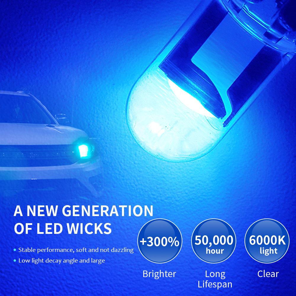 2 W5W 194 T10 Glass Shell Cob LED Car bulb 3000K Amber 6000 White Green Blue Red Wedge License Plate Lamp Dome Light White Diode 5