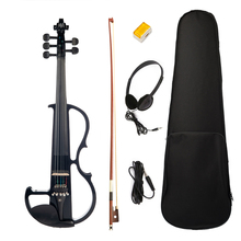 4/4 Solid Wood Black 5-String Electric Violin Set Musical Instrument With Bow Box Rosin Headphone Cord Violin Player Gift