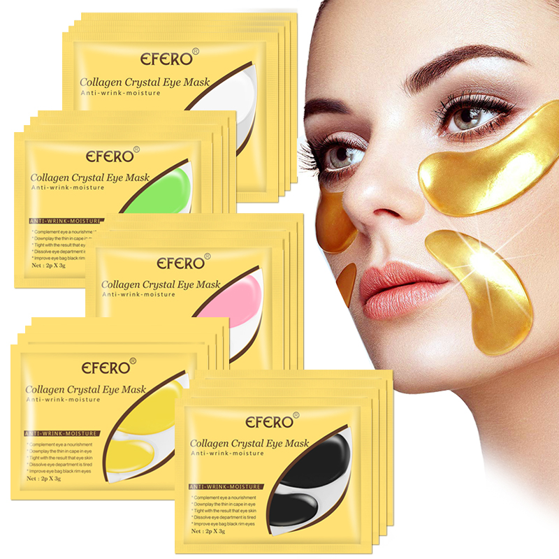 10pcs 5pair Crystal Collagen Gold Eye Mask Gel Pads Anti-Aging Dark Circles Moisturizing Beauty Patches For Eye Skin Care