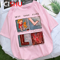 Женская футболка с надписью «Deep Dark feares», футболка оверсайз с принтом «My Depression My Brain My Health», уличная футболка, женская футболка