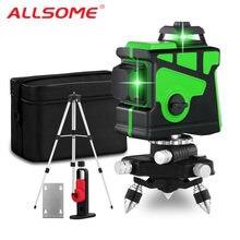 Allsome 12 линий 3d зеленый лазерный уровень Горизонтальные