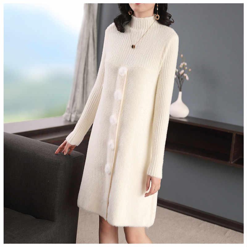 여성 스웨터 새로운 가을 겨울 모조 밍크 니트 점퍼 절반 터틀넥 스웨터 단색 긴 소매 느슨한 미니 스웨터 드레스