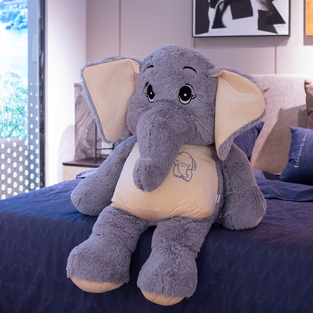 38~68cm Stuffed Fuzzy Grey Elephant Plush Toy Comforting Eli Animal Doll Children Birthday Gift 2