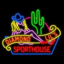 Sinal de néon para sexy diamante lil s sporthouse las vegas resterant decorar luz da loja do hotel exibir impacto de negócios atrair luz