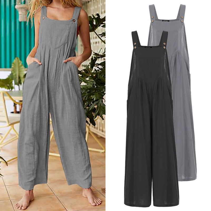 Plus Size VONDA Romper Women Jumpsuit 2020 Summer Female Wide Leg Jumpsuit Casual Loose Cotton Overalls Solid Strap Pants