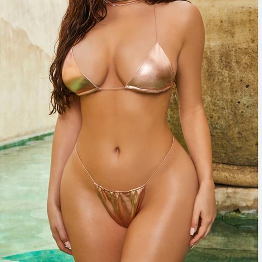 2019 Swimwear Womens Hot Sexy Women Bikini Set Rose Gold Swimsuit Bikini Push Up Swimwear Beach Bathing Suit S-L 10