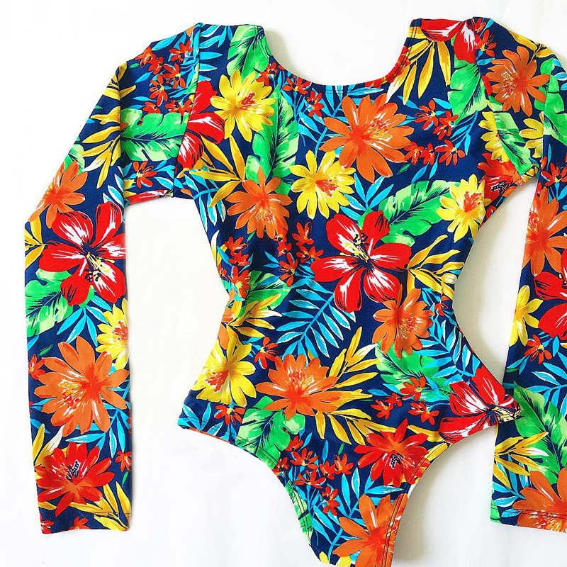 Женский слитный купальник с длинными рукавами, Цветочный купальник, монокини с тропическим принтом, открытая спина, фламинго, купальный костюм, боди Bain - Цвет: ES19460B1