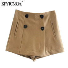 KPYTOMOA Women 2020 Chic Fashion With Double Buttons Shorts Skirts Vintage High Waist Side Zipper Female Skort Mujer