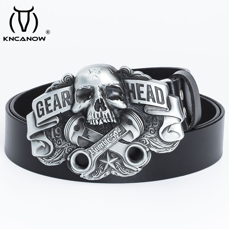 High Quality Leather Belt Men Strap Luxury Skull Gear Head Punk Buckle Fancy Vintage Western Cowboy Jeans Cinto Free Shipping