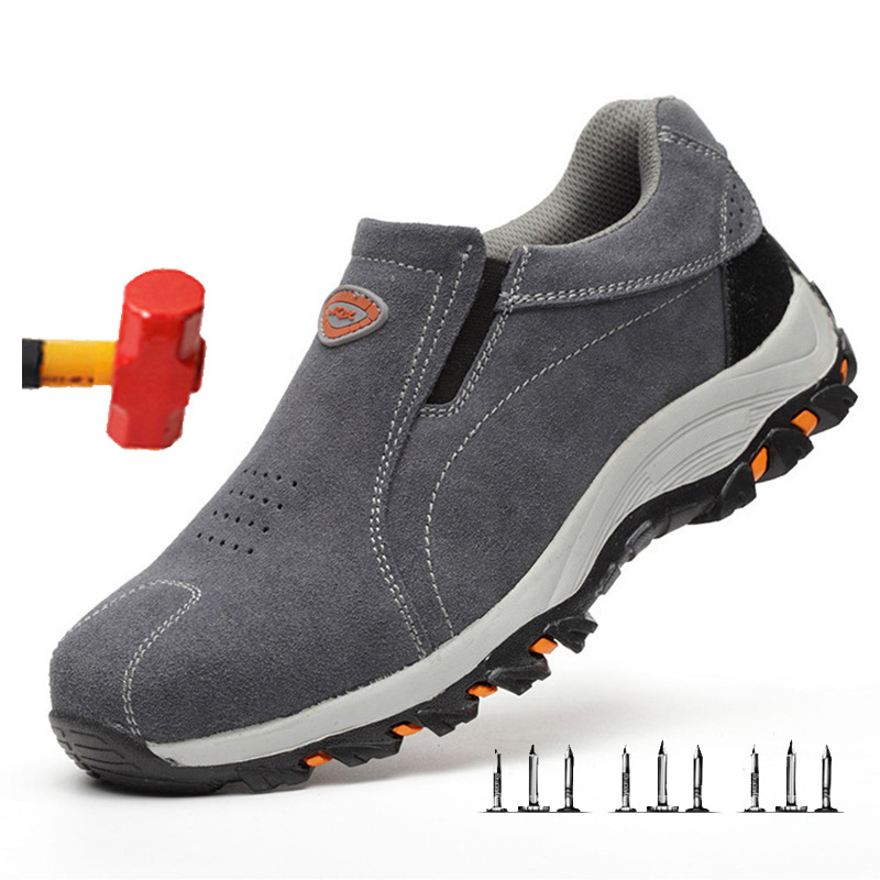 Men's Steel Toe Work Safety Shoes Lightweight Breathable Anti-smashing Work Shoes Male Boots Slip On Casual Sneaker Men Shoes 46