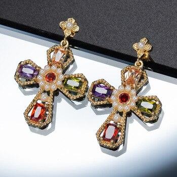 CINDY XIANG, pendientes de Cruz de Zirconia cúbica para mujer, pendientes de perlas vintage de estilo barroco, joyería de moda grande de alta calidad