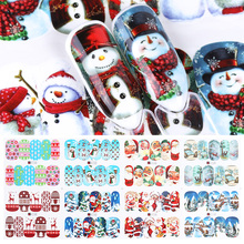 12Pcsคริสต์มาสสติ๊กเกอร์เล็บDecals Snowman Santa Clauseกวางเล็บใหม่ปีSliderเต็มรูปแบบWrapsเครื่องมือJIA/BN