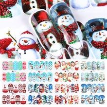 12pcs 크리스마스 네일 스티커 물 Decals 눈사람 산타 클로스 사슴 네일 아트 새해 슬라이더 매니큐어 전체 포장 도구 JIA/BN