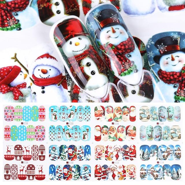 Autocollants pour ongles de noël eau, 12 pièces, décalcomanies, bonhomme de neige, père noël, cerf, accessoire de manucure, nouvel an, coulissant, JIA/BN