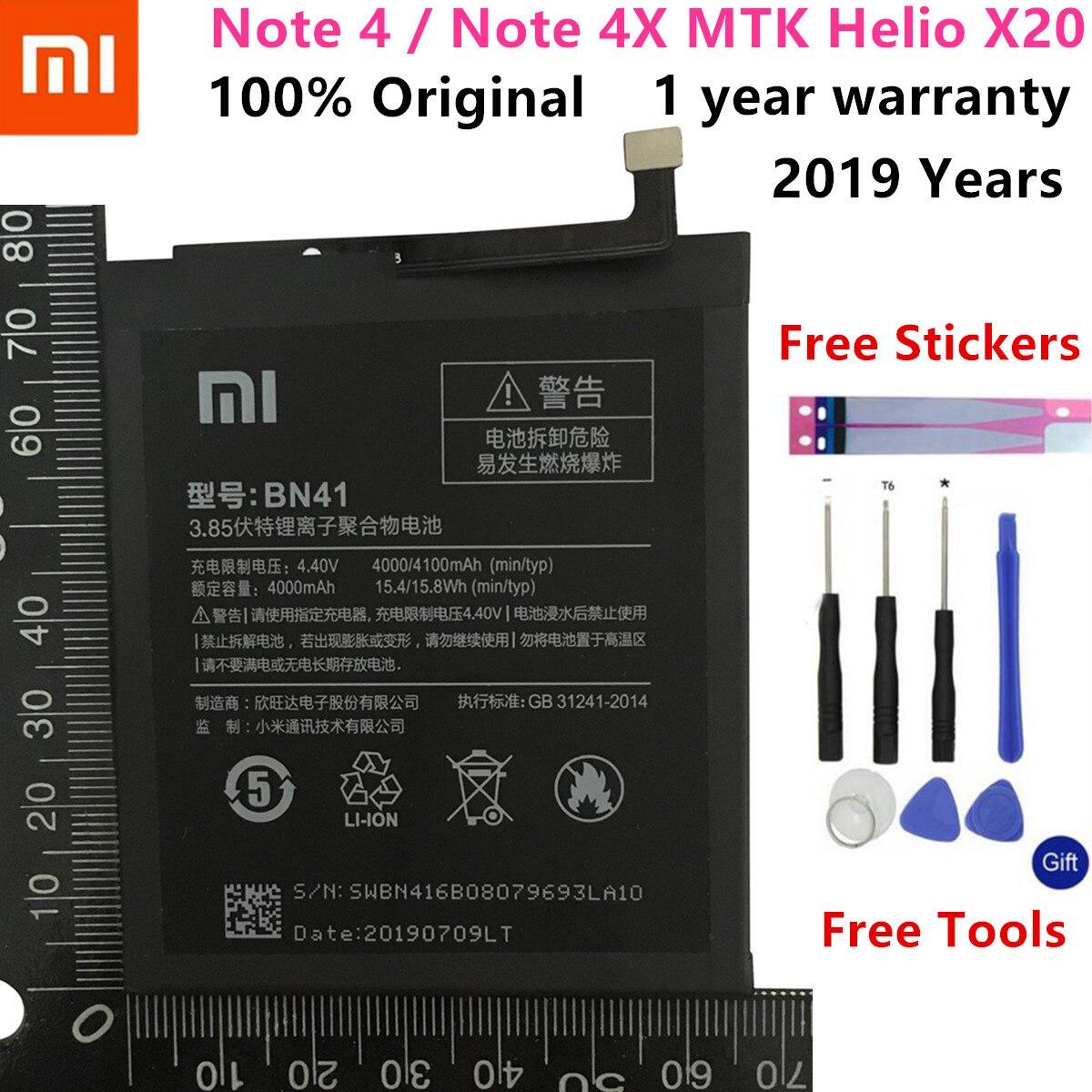 Real Original 4100 mAh Bateria Para Xiaomi Redmi Nota MTK 4 Helio X20 BN41/Note 4X Pro MTK Helio x20 CPU Deca-core Max 2.1 GHz