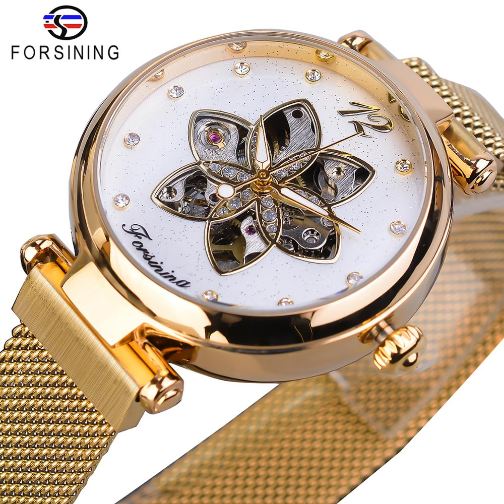 Forsining 2019 Womens Watch Top Brand Luxury Creative Diamond Female Watch Automatic Mechanical Waterproof Luminous Mesh Clock