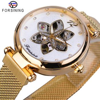 Forsining 2019 Womens Watch Top Brand Luxury Creative Diamond Female Automatic Mechanical Waterproof Luminous Mesh Clock - discount item  15% OFF Women's Watches