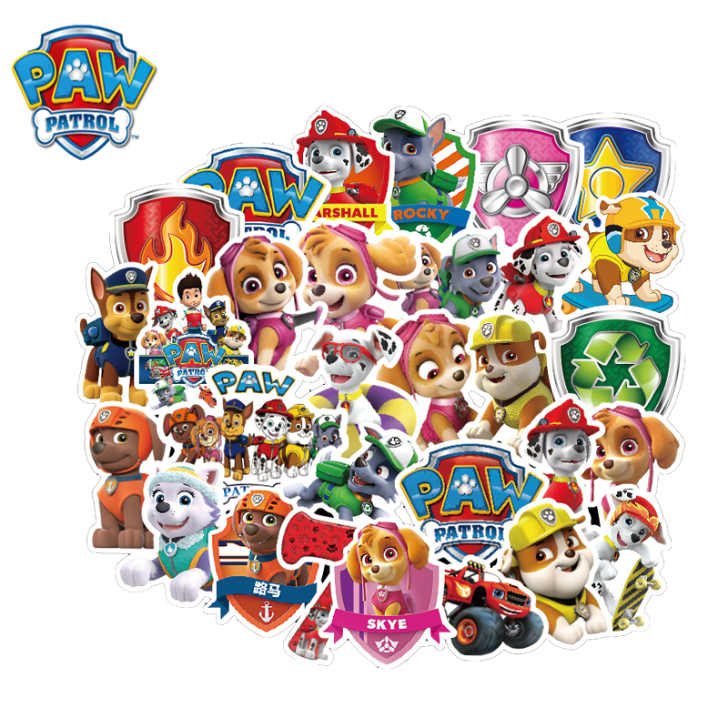 50pcs Stickers Paw Patrol Graffiti Travel Sticker Luggage Car Waterproof Children's Toy Baby Toys Not Repeat 45T