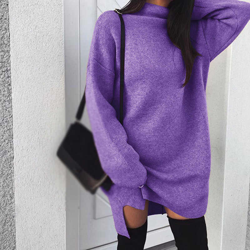 Women's Sweater Dress Autumn Winter Loose Casual Knit Solid Color High Collar Long Sleeve Ladies Dress