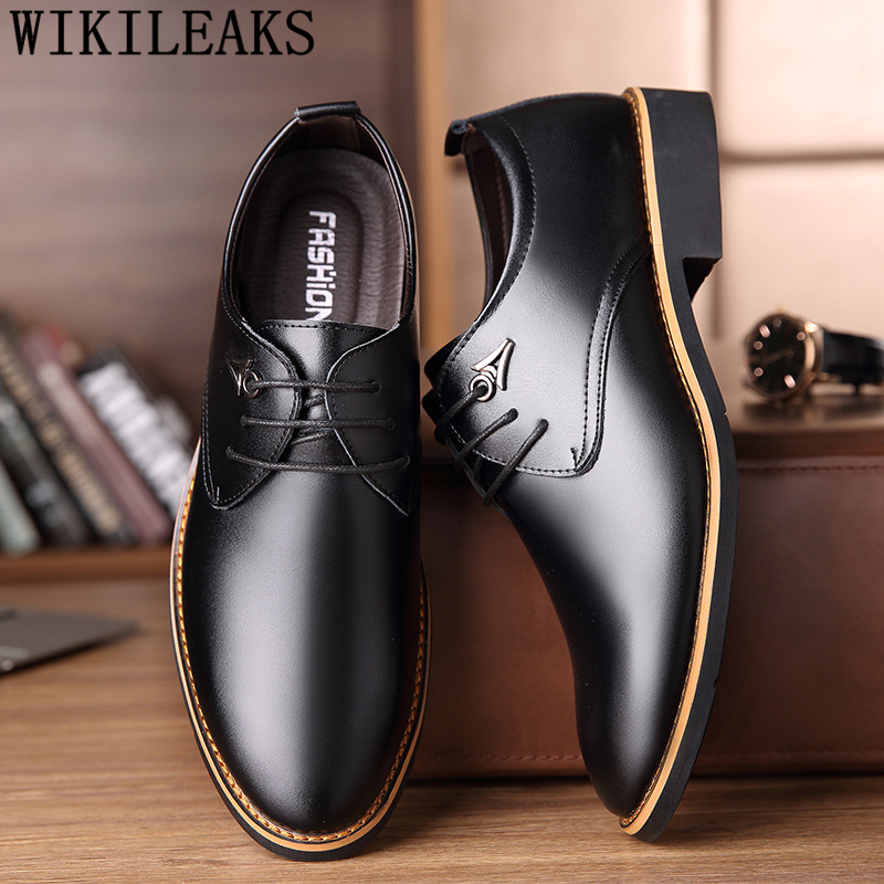 Brand Mens Formal Shoes Genuine Leather