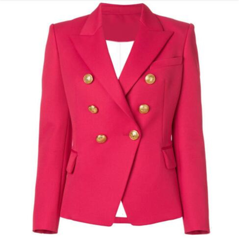 HIGH QUALITY New Stylish 2018 Designer Blazer Jacket Women's Lion Buttons Double Breasted Blazer Outerwear Size S-XXL Rose Red