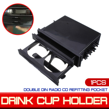 Double Din Radio Kit For Pocket Drink-Cup Holder & Storage Box Universal Car Auto Plastic image