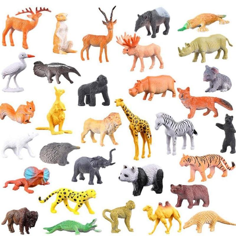 53 Pcs/set Mini Animal World Zoo Model Figure Action Toy Set Cartoon Simulation Animal Lovely Plastics Collection Toy For Kids