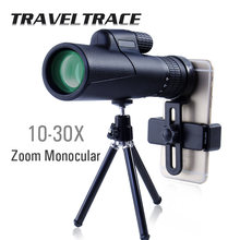 Telescopio Monocular 10-30X para teléfono inteligente, Zoom 40x60, alcance de viaje óptico militar, potente, HD, profesional, Bak4, transparente