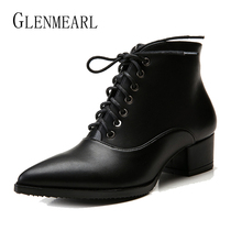 цены Winter Women Boots Ankle Shoes Brand Female Boots Lace Up Thin High Heels Women Brillant Slip On Pointed Toe Casual Shoes 2019 N