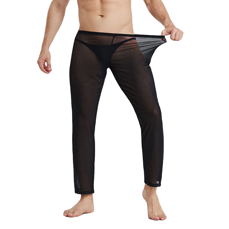 Pajamas For Men See Through Pyjama Homme Mesh Sleepwear Thin Men's Pajamas Home Pants Underwer Solid Elasticity Pajama Pants