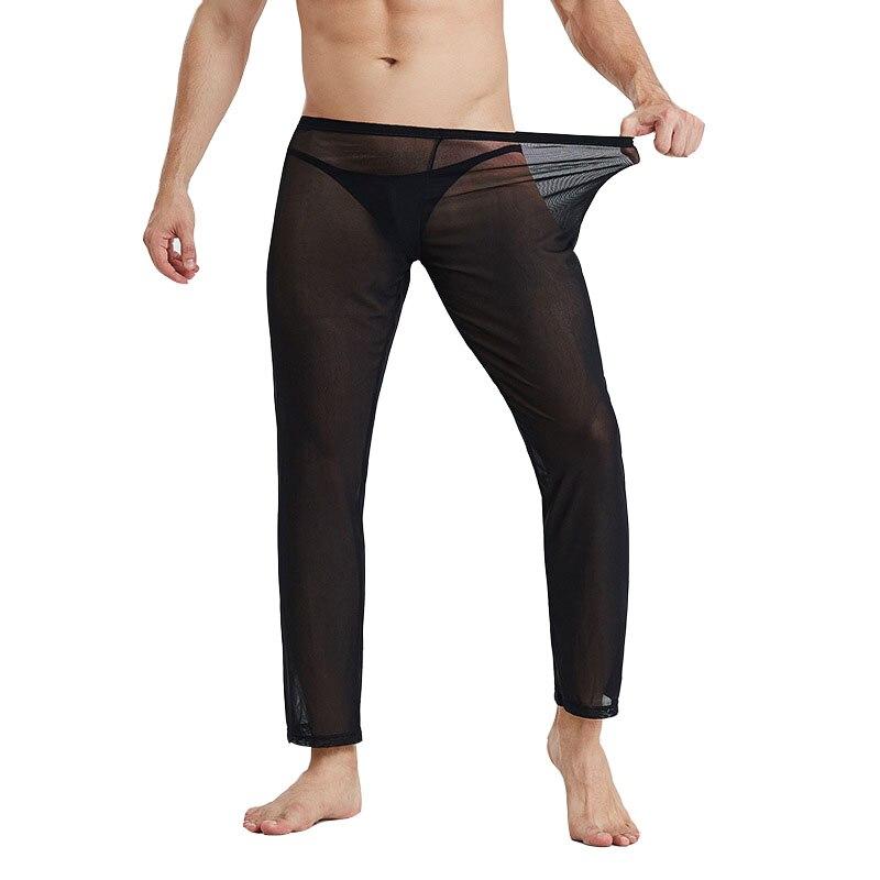 Pajamas For Men See Through Pyjama Homme Mesh Thin Men's Pajamas Home Pants Solid Elasticity Men's Pajama Pants Sleepwear