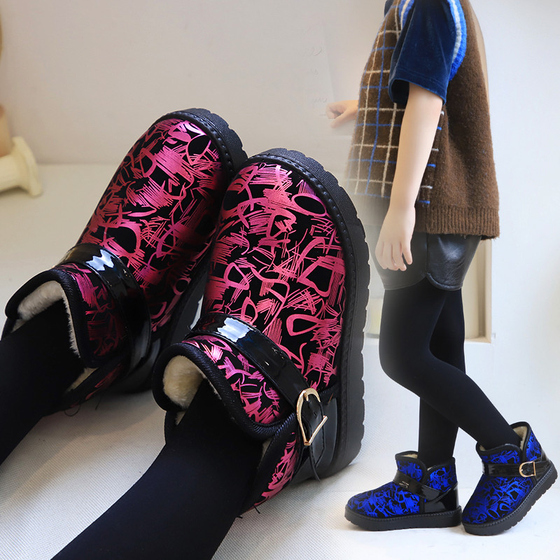 2019 Winter Girls Boots Plush Warm Shoes Boys Waterproof Short Boots Kids Keeping Warm Snow Boots Children Shoes