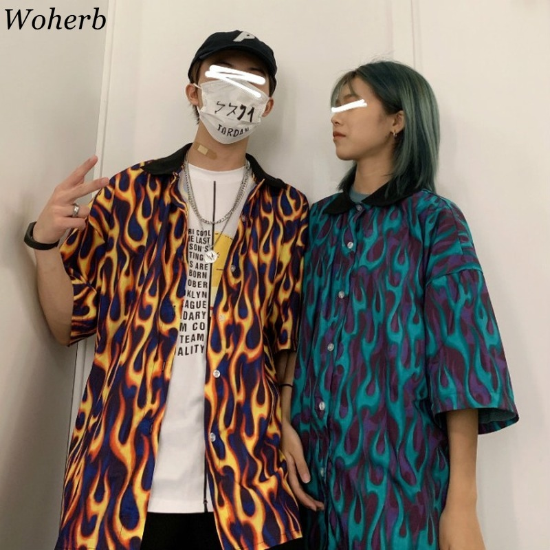 Woherb Streetwear Flame Print Women Men Blouse Shirts Summer Short Sleeve Turn Down Collar Hit Color Loose Harajuku Blusas