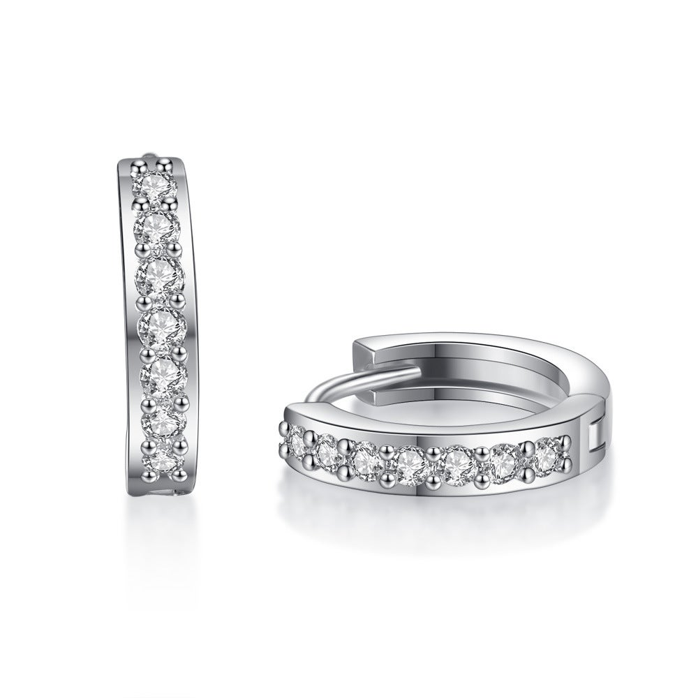Genuine 14K White Gold Filled Sterling Silver 1 2 ct Round CZ Huggie Earrings