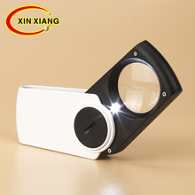 Factory direct square with LED lamp hand-held portable reading magnifying glass magnifier Loupe Jewelry loupe 20x magnifier illuminated magnifier lamp magnifying loupe with 12 led lights handheld led magnifier jewelry loupe reading aid