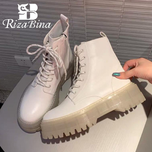 RIZABINA Women Ankle Boots Fashion Platform Warm Winter Shoes Woman Thick Bottom Office Lady Casual Daily Footwear Size 35-40