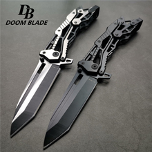 213mm(8.4) 58HRC Cool Pocket Folding Knife Tactical Hunting Survival Combat Knives EDC Multi Tool Aluminum Handle Military