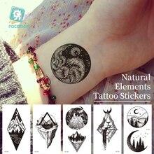 Temporary-Tattoo-Sticker Tatoo Hand-Arm Black Waterproof Women for Natural-Elements Dark-Series