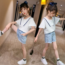 Girls Clothes Set Summer Kids Girl Clothing Children Preppy Style Suits Fashion Short Sleeve Tops + Denim Shorts Casual Outfits 2018 back to school outfits autumn kids clothing set girls clothes set children clothing suits long sleeve denim shirts jeans