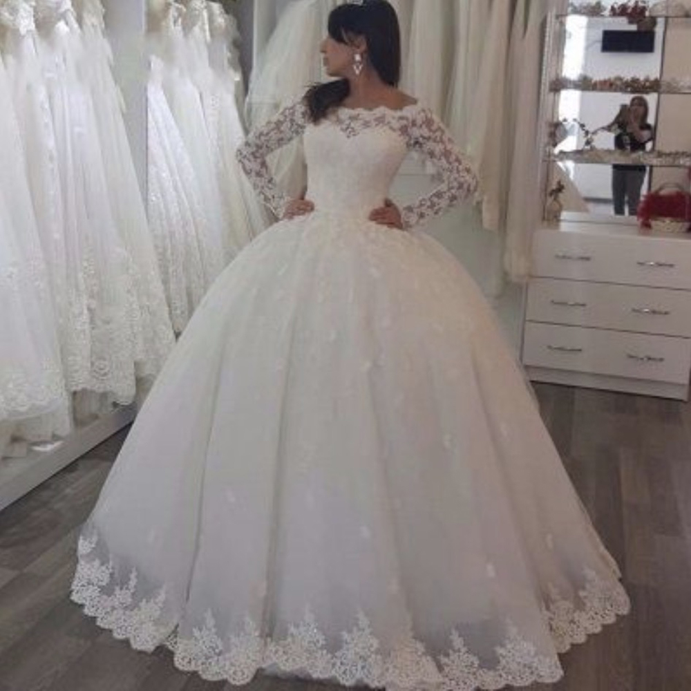 Fansmile Tulle Long Train Vestido De Noiva Lace Wedding Dresses 2020 Plus Size Customized Wedding Gowns Bridal Dress FSM-044T
