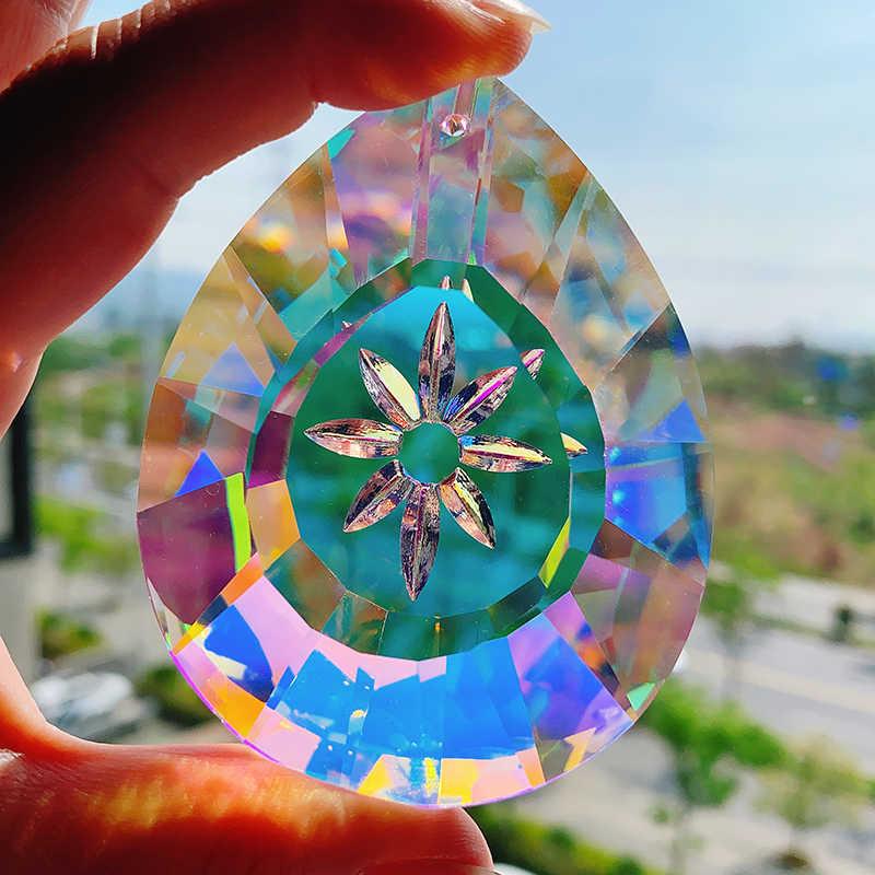 H & D 76 مللي متر كريستال نافذة معلقة المنشور sunالماسك قطرة زجاج ثريّا متدلية مصباح الموشورات حلية لتقوم بها بنفسك ديكور المنزل الزفاف