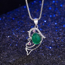 Natural Green Jade Chalcedony Heart-shaped Agate Pendant 925 Silver Necklace Chinese Carved Fashion Charm Jewelry Amulet Women natural green jade pendant dragon phoenix 925 silver necklace chinese carved fashion charm jewelry amulet for men women gifts