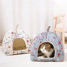 Casa de cachorro de dupla finalidade dos desenhos animados canil camas para cães pequenos canil dobrável perrera à prova dwaterproof água chihuahua filhote de cachorro cama pet gato tenda