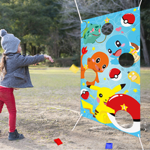 Cartoon Toss Games with 4 Bean Bags Indoor Outdoor Throwing Supplies for Children and Adults Carnival Banner for Party Decor