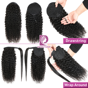 Image 2 - Racily Hair Afro Kinky Curly Ponytail Human Hair For Women Remy Brazilian Wrap Around Drawstring Ponytail Clip In Hair Extension