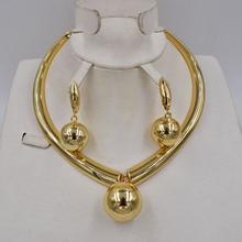 Di alta Qualità Ltalia 750 di colore Delloro Dei Monili Set Per Le Donne beads africani gioielli set collana di modo dei monili dellorecchino